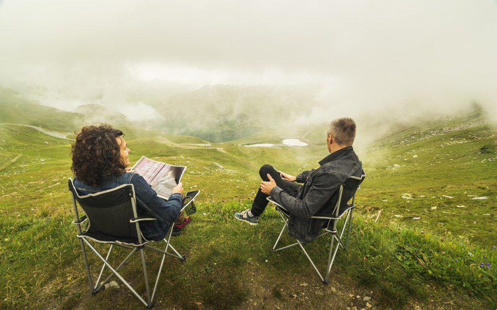Couple relaxing in nature